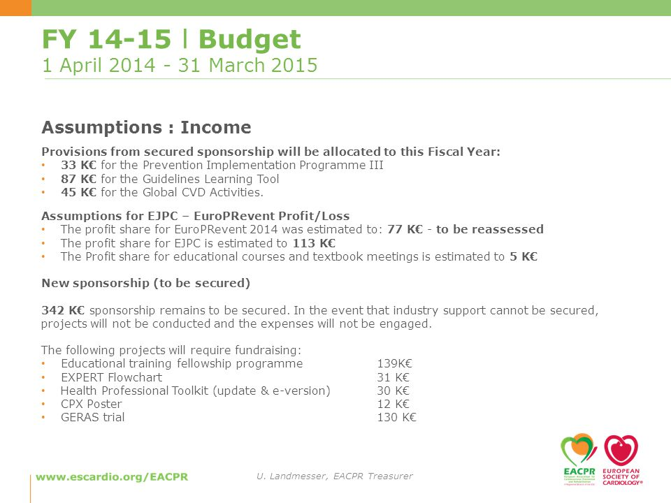 FY l Budget 1 April March 2015 Assumptions : Income Provisions from secured sponsorship will be allocated to this Fiscal Year: 33 K€ for the Prevention Implementation Programme III 87 K€ for the Guidelines Learning Tool 45 K€ for the Global CVD Activities.