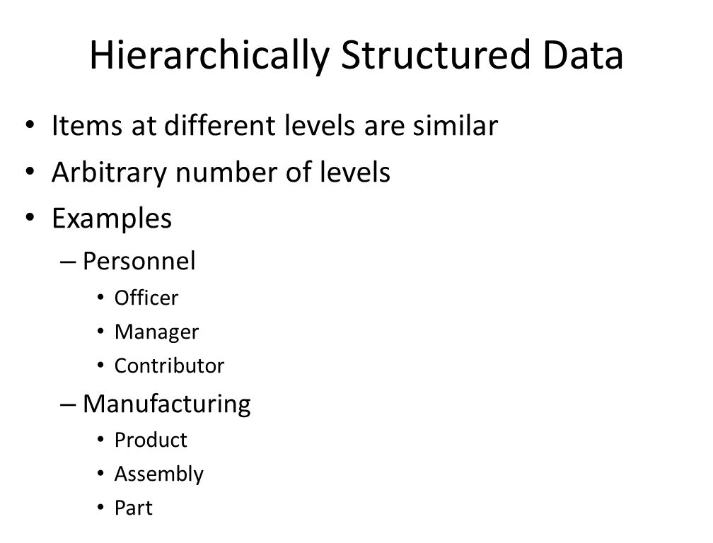 Hierarchically Structured Data Items at different levels are similar Arbitrary number of levels Examples – Personnel Officer Manager Contributor – Manufacturing Product Assembly Part