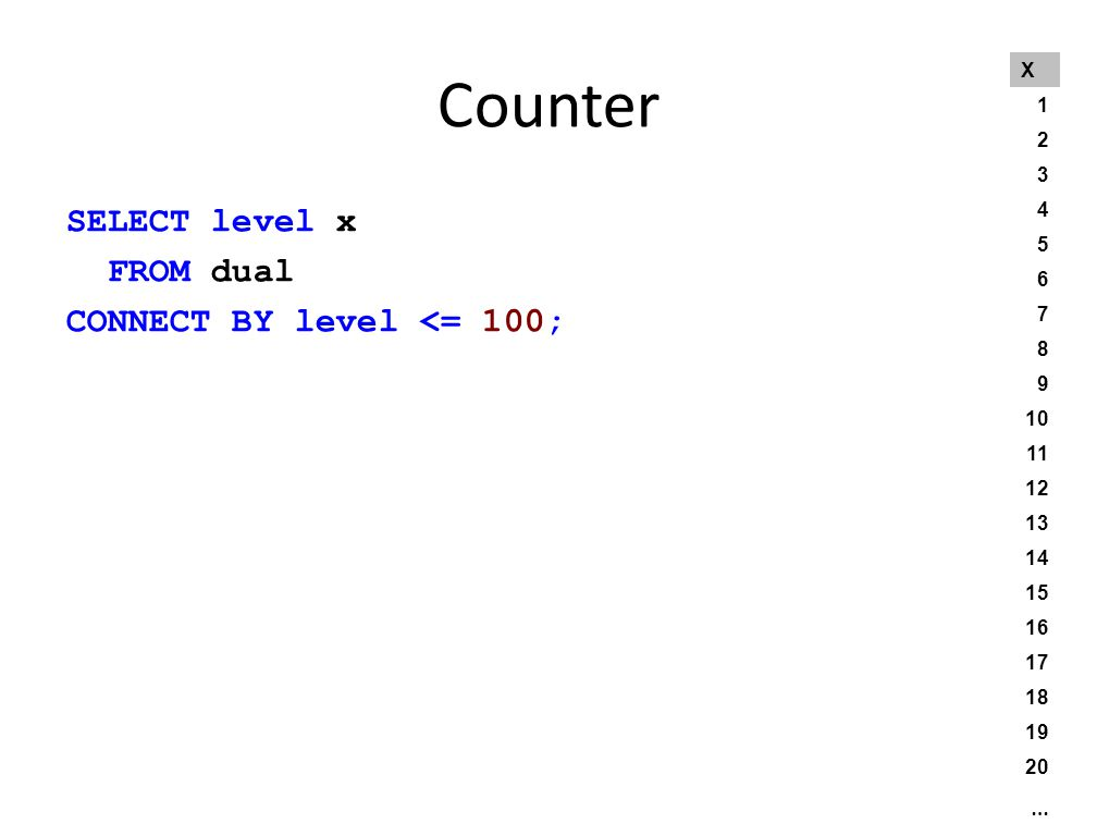 Counter SELECT level x FROM dual CONNECT BY level <= 100; X 1 2 3 4 5 6 7 8 9 10 11 12 13 14 15 16 17 18 19 20 …