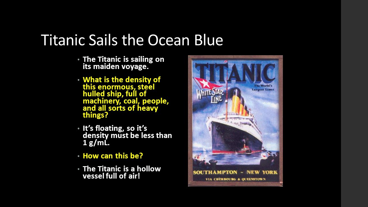 Titanic Sails the Ocean Blue The Titanic is sailing on its maiden voyage. What is the density of this enormous, steel hulled ship, full of machinery,