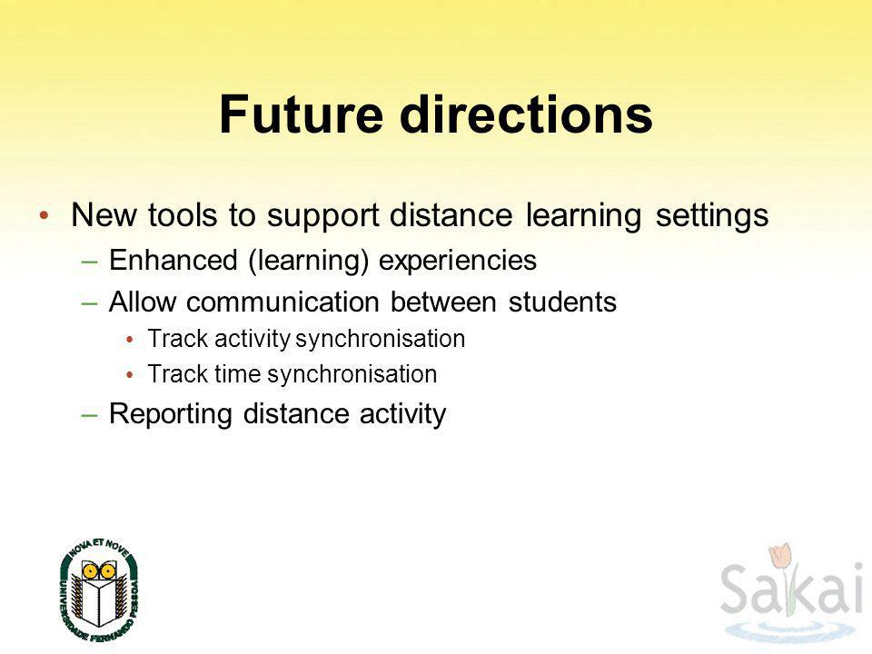 Future directions New tools to support distance learning settings –Enhanced (learning) experiencies –Allow communication between students Track activity synchronisation Track time synchronisation –Reporting distance activity