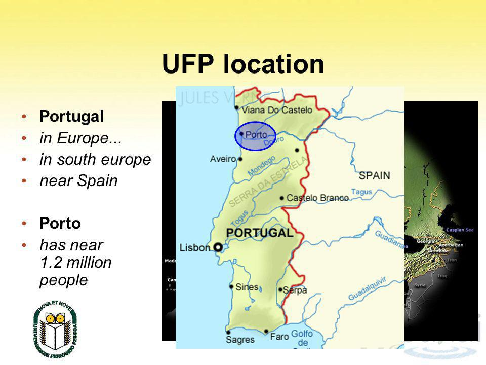 UFP location Portugal in Europe... in south europe near Spain Porto has near 1.2 million people