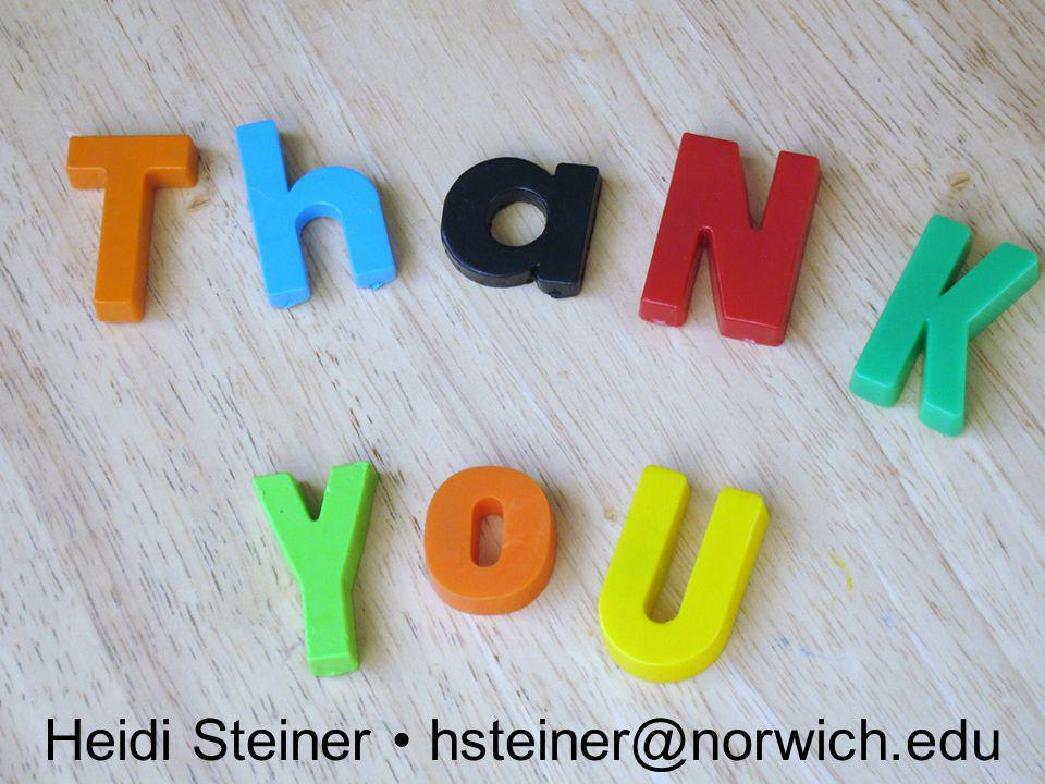 Heidi Steiner hsteiner@norwich.edu