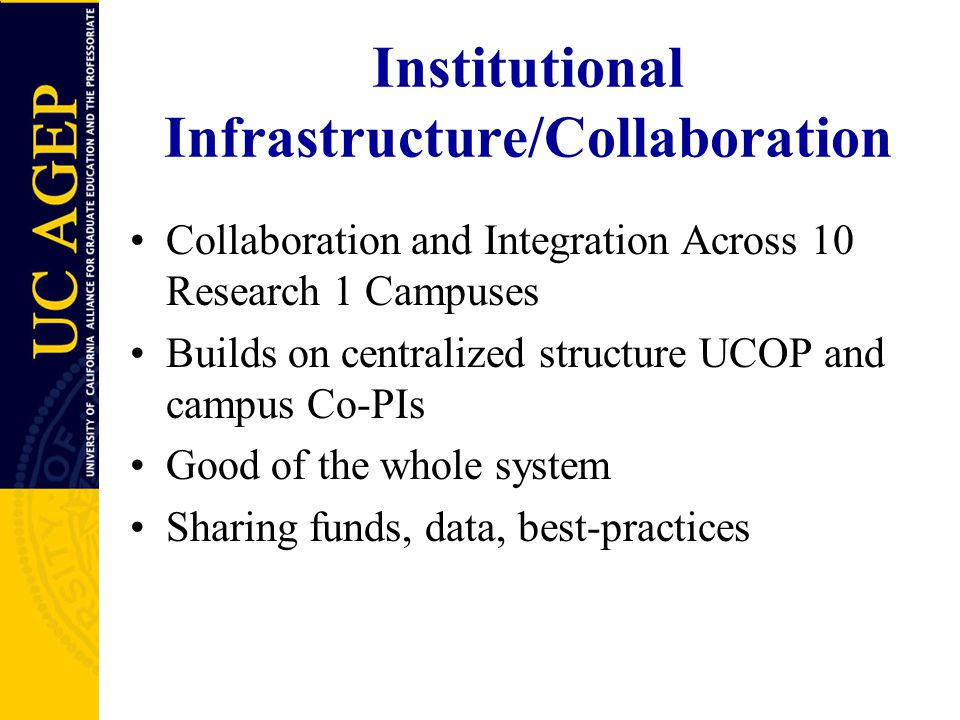 Institutional Infrastructure/Collaboration Collaboration and Integration Across 10 Research 1 Campuses Builds on centralized structure UCOP and campus