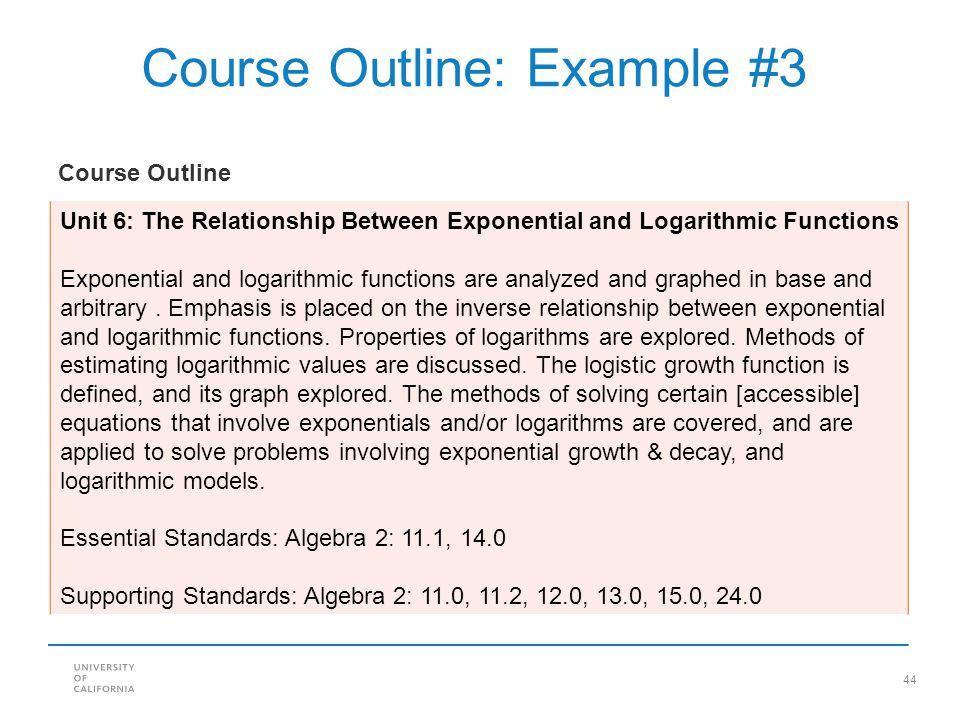 44 Course Outline: Example #3 Unit 6: The Relationship Between Exponential and Logarithmic Functions Exponential and logarithmic functions are analyze