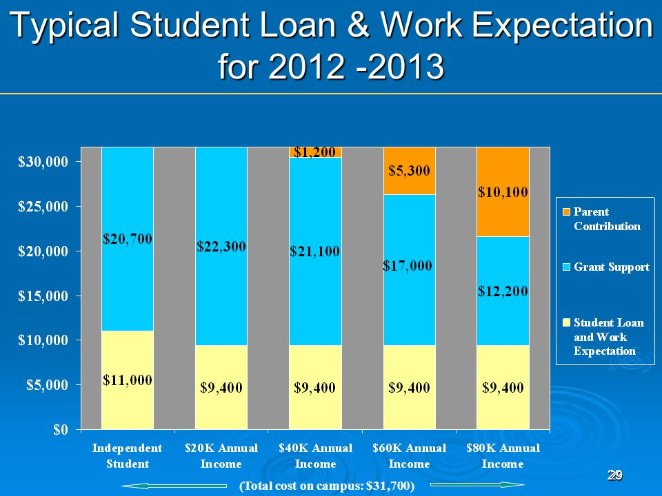 29 29 Typical Student Loan & Work Expectation for (Total cost on campus: $31,700)