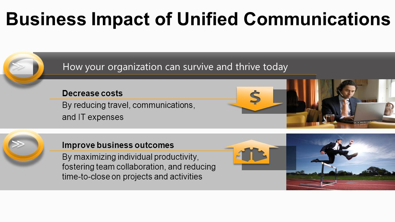 How your organization can survive and thrive today Business Impact of Unified Communications Decrease costs By reducing travel, communications, and IT