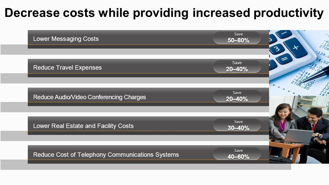 Reduce Travel Expenses Reduce Audio/Video Conferencing Charges Lower Real Estate and Facility Costs Lower Messaging Costs Reduce Cost of Telephony Com