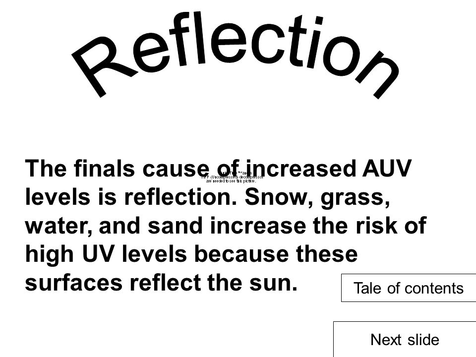 The finals cause of increased AUV levels is reflection.