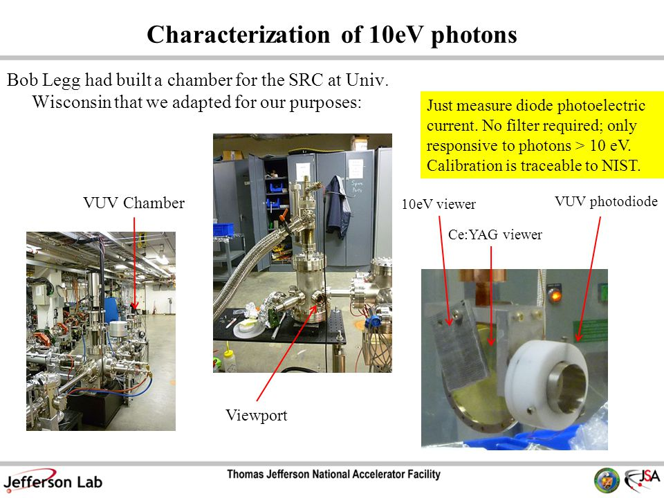 Characterization of 10eV photons Bob Legg had built a chamber for the SRC at Univ.