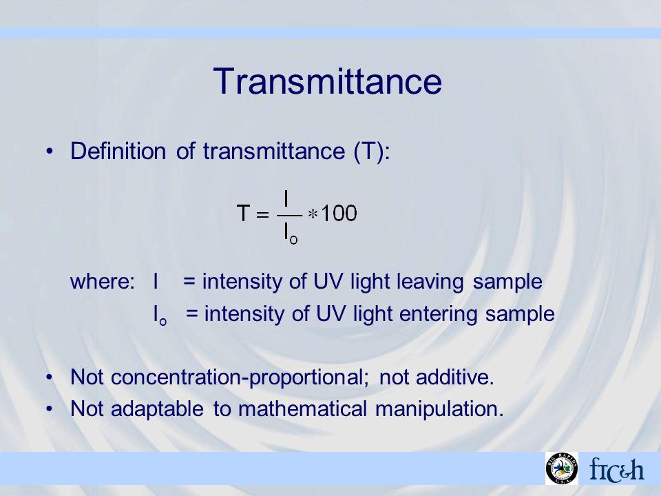 Transmittance Definition of transmittance (T): where:I = intensity of UV light leaving sample I o = intensity of UV light entering sample Not concentration-proportional; not additive.
