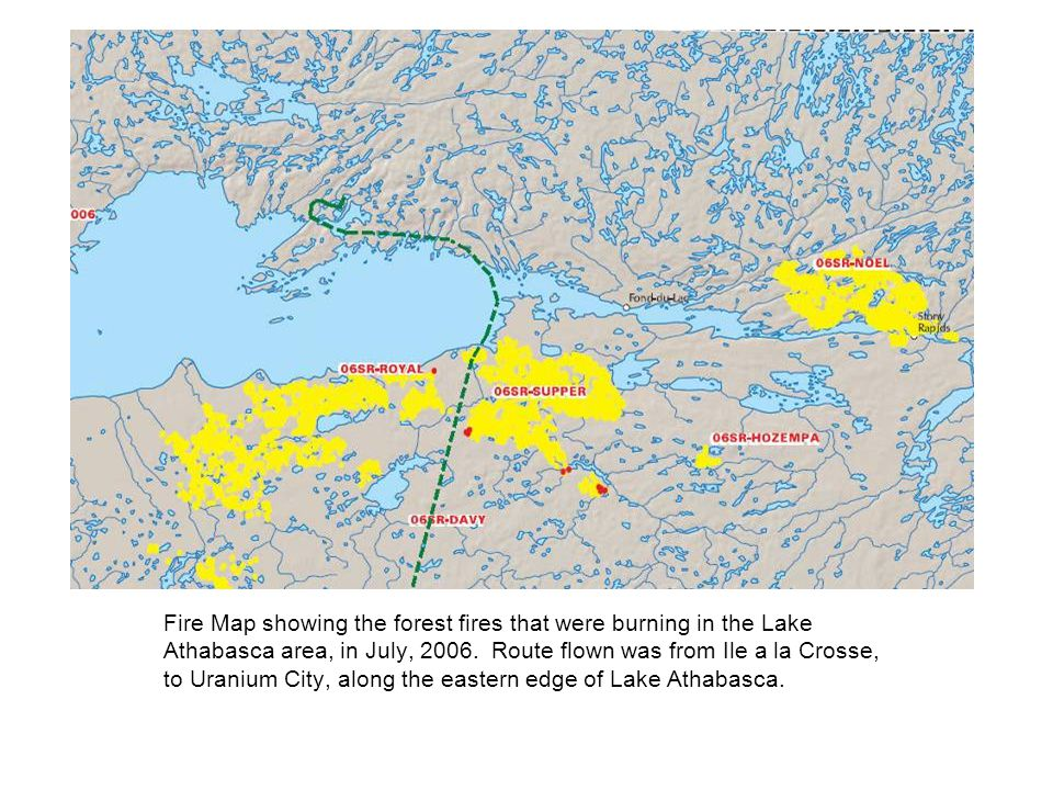 Fire Map showing the forest fires that were burning in the Lake Athabasca area, in July, 2006.
