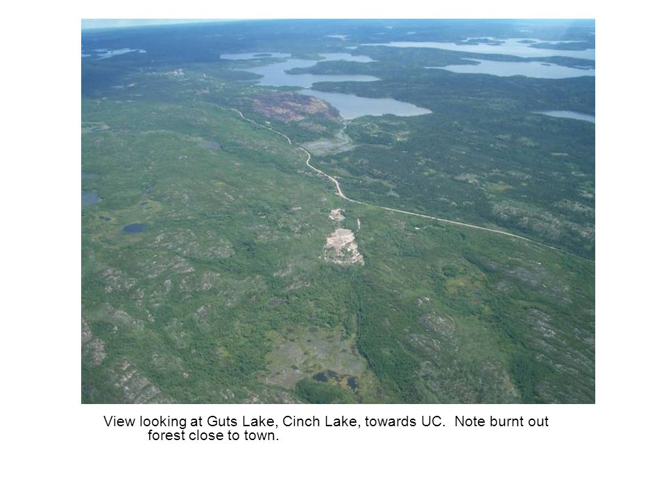 View looking at Guts Lake, Cinch Lake, towards UC. Note burnt out forest close to town.