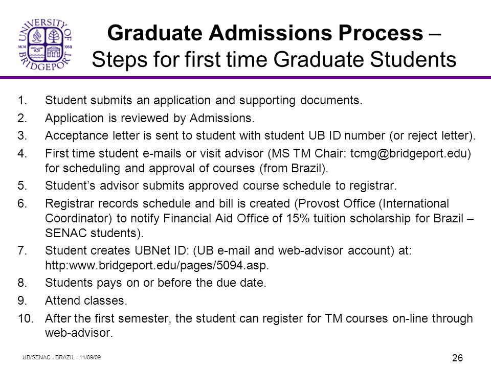 Graduate Admissions Process Select Graduate Courses Transferable for Credit as Part of the Requirements for an M.S. degree in Technology Management UB