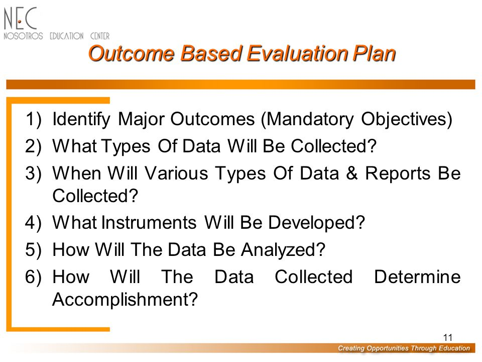 11 Outcome Based Evaluation Plan 1)Identify Major Outcomes (Mandatory Objectives) 2)What Types Of Data Will Be Collected.