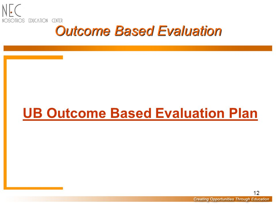 12 Outcome Based Evaluation UB Outcome Based Evaluation Plan