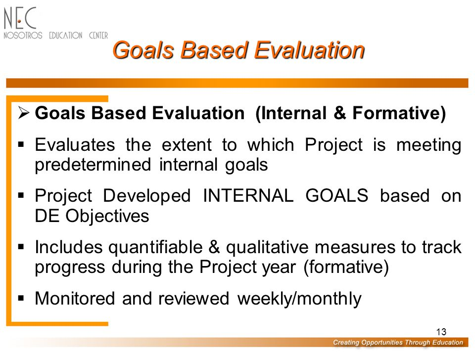 13 Goals Based Evaluation  Goals Based Evaluation (Internal & Formative)  Evaluates the extent to which Project is meeting predetermined internal goals  Project Developed INTERNAL GOALS based on DE Objectives  Includes quantifiable & qualitative measures to track progress during the Project year (formative)  Monitored and reviewed weekly/monthly