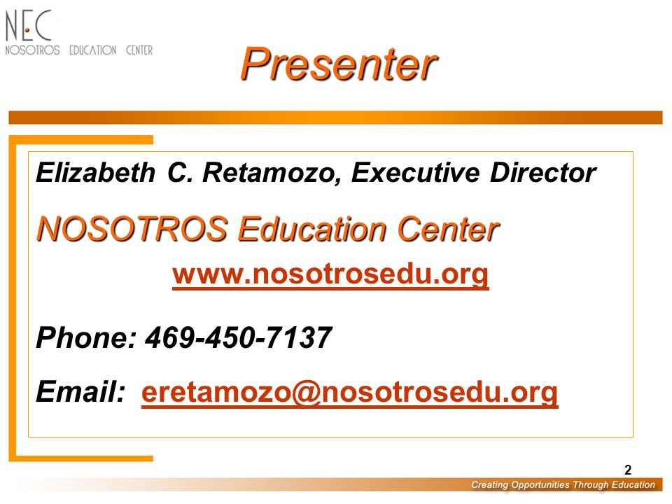 Presentation Materials PowerPoint Slide Presentation & Handout Located at: www.nosotrosedu.org www.nosotrosedu.org –Go to Resources Page –Register Your Email Address –Click the Presentations & Links Tab –Click SAEOPP 2010 Folder –UB Internal & External Program Evaluation 3