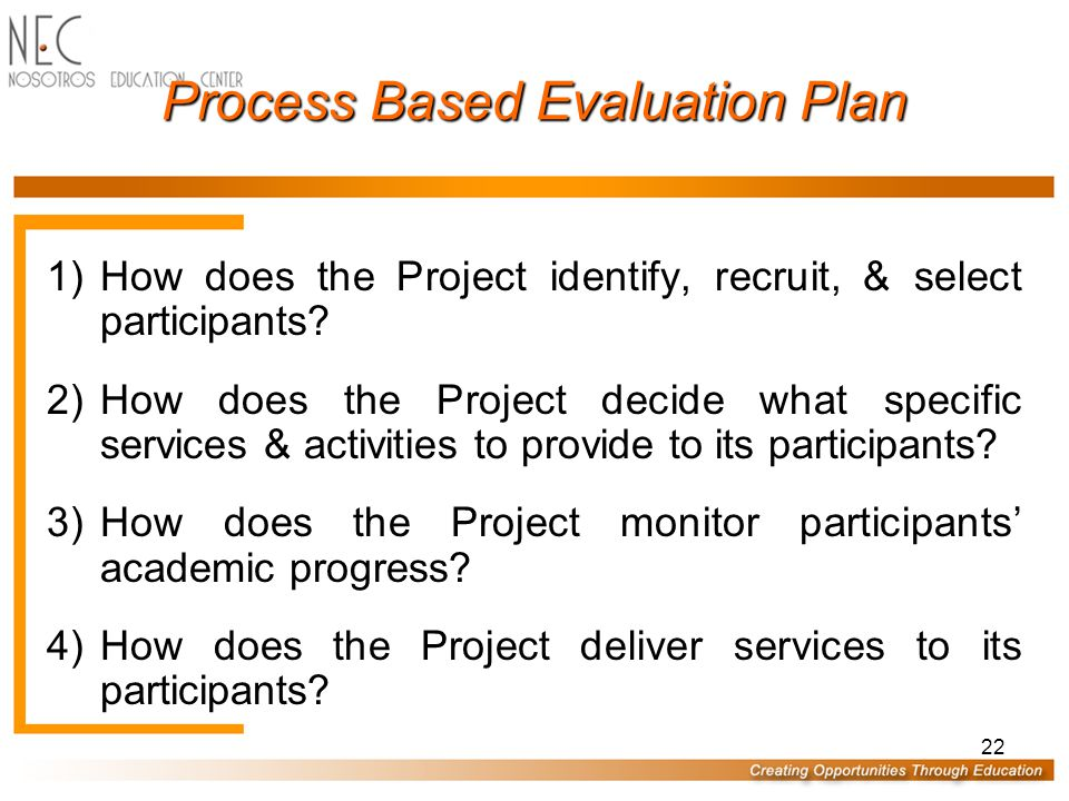 22 Process Based Evaluation Plan 1)How does the Project identify, recruit, & select participants.