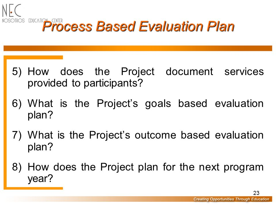 23 Process Based Evaluation Plan 5)How does the Project document services provided to participants.