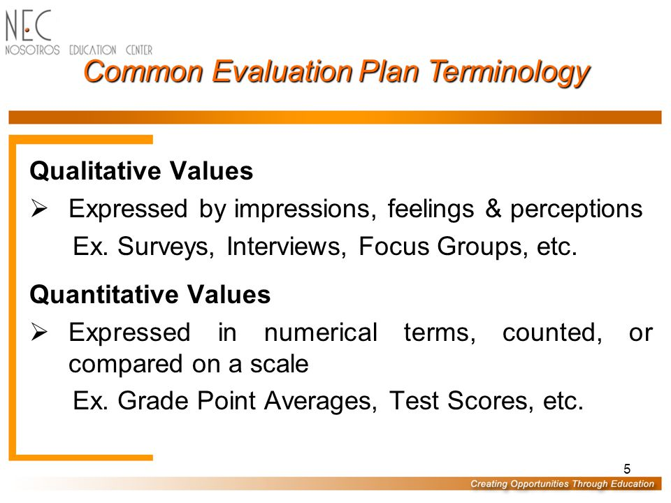 5 Common Evaluation Plan Terminology Qualitative Values  Expressed by impressions, feelings & perceptions Ex.