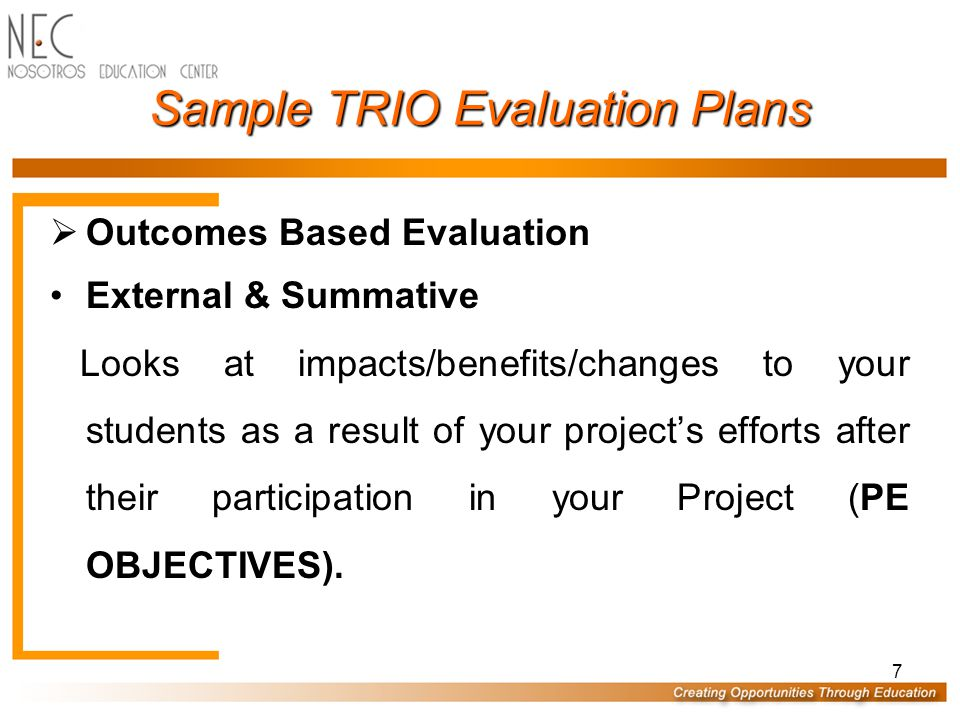 18 Outcome Based Evaluation Sample UB Internal Goals UB Goals Based Evaluation Plan
