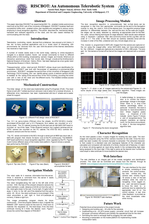 RISCBOT: An Autonomous Telerobotic System Sarosh Patel, Rajeev Sanyal, Advisor: Prof.