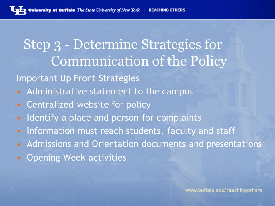 Step 3 - Determine Strategies for Communication of the Policy Important Up Front Strategies Administrative statement to the campus Centralized website for policy Identify a place and person for complaints Information must reach students, faculty and staff Admissions and Orientation documents and presentations Opening Week activities
