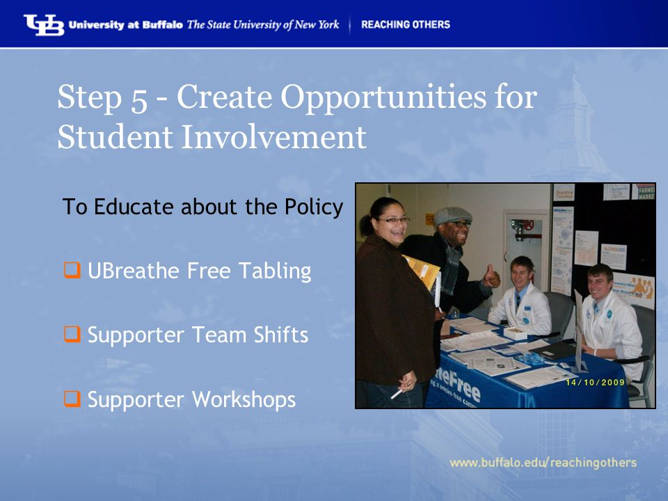 To Educate about the Policy  UBreathe Free Tabling  Supporter Team Shifts  Supporter Workshops Step 5 - Create Opportunities for Student Involvement