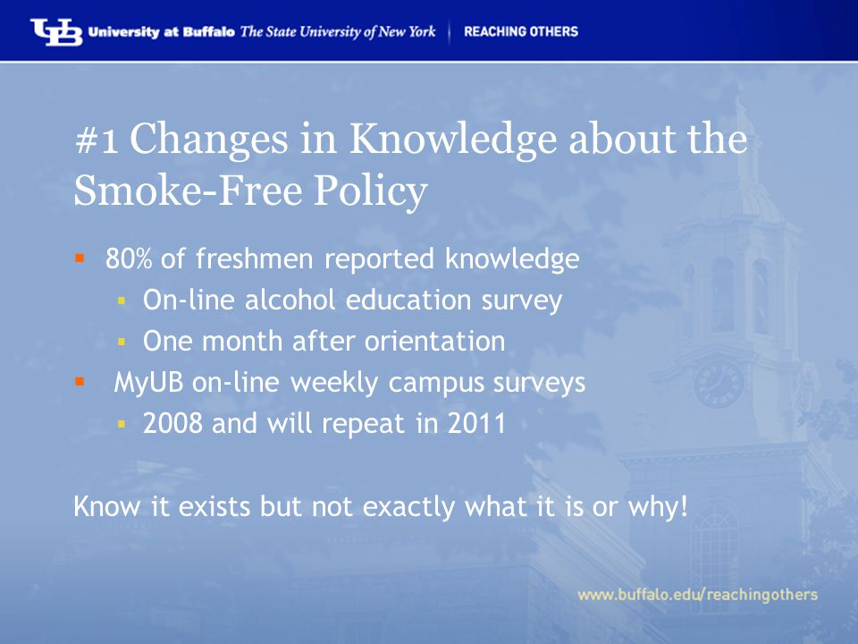 #1 Changes in Knowledge about the Smoke-Free Policy  80% of freshmen reported knowledge  On-line alcohol education survey  One month after orientation  MyUB on-line weekly campus surveys  2008 and will repeat in 2011 Know it exists but not exactly what it is or why!