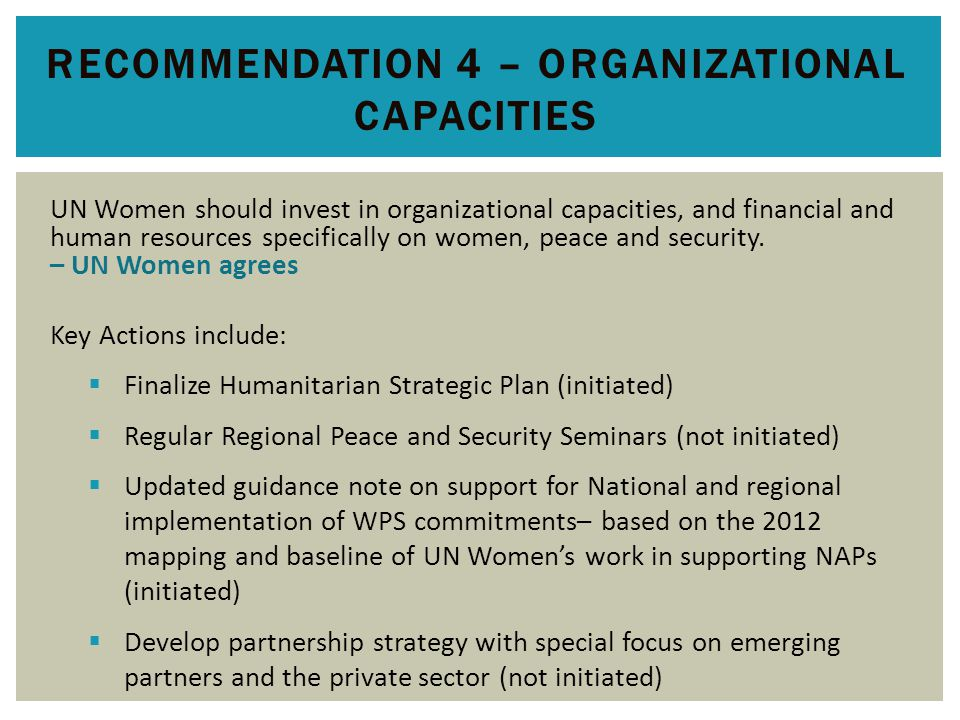 RECOMMENDATION 5 – MANAGING RISK Introduce and support more systematic risk assessments to be embedded in planning and M&E at country level – UN Women agrees Key Actions include:  Ensure the 'do no harm' principle is fully integrated to all guidance for country programming in the WPS field (initiated)  Through the UNCT, ensure UN Women is fully integrated into the UN security risk assessment and contingency planning processes (initiated)