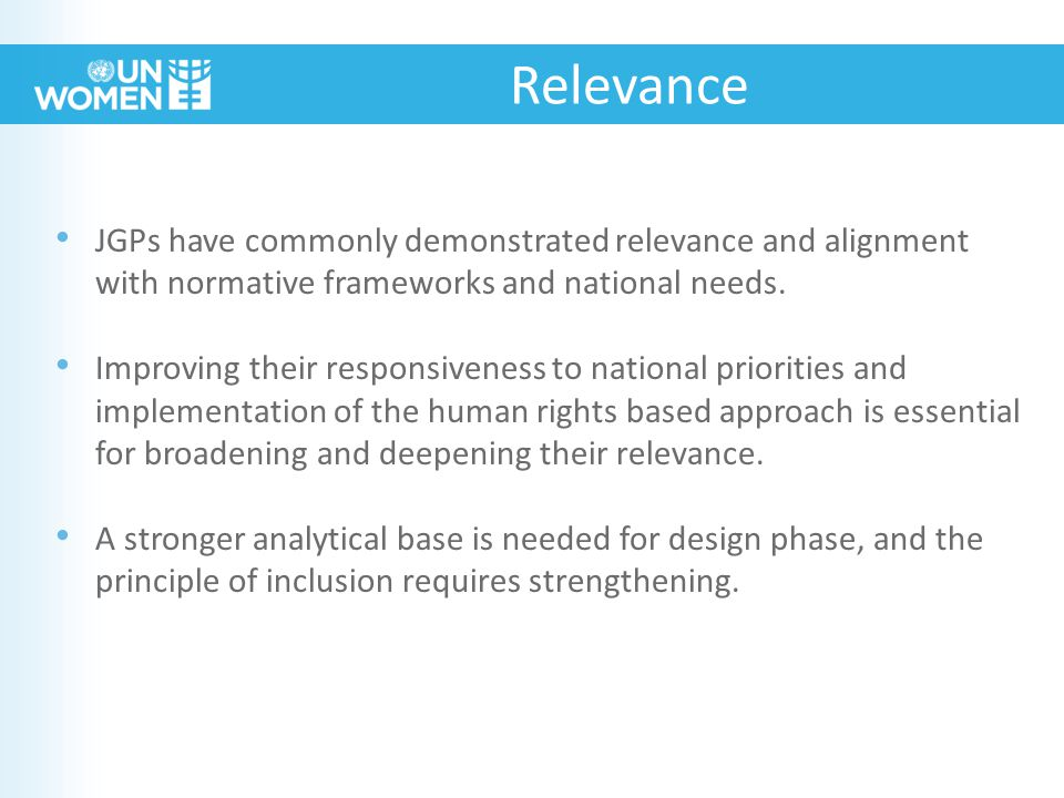 JGPs have commonly demonstrated relevance and alignment with normative frameworks and national needs.