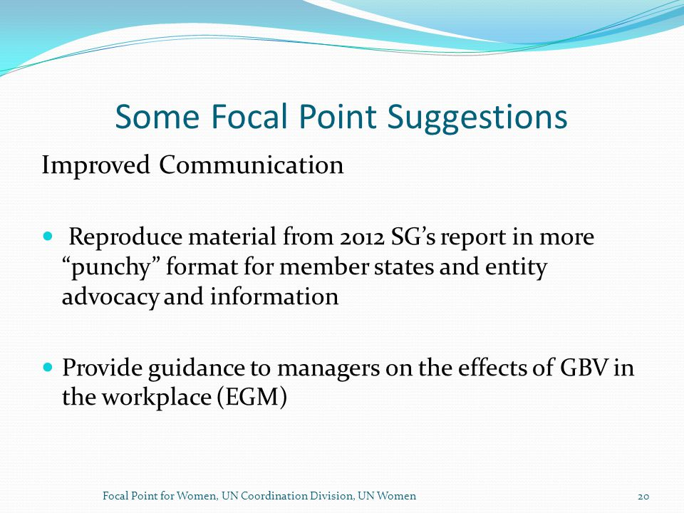 Some Focal Point Suggestions Improved Communication Reproduce material from 2012 SG's report in more punchy format for member states and entity advocacy and information Provide guidance to managers on the effects of GBV in the workplace (EGM) Focal Point for Women, UN Coordination Division, UN Women20