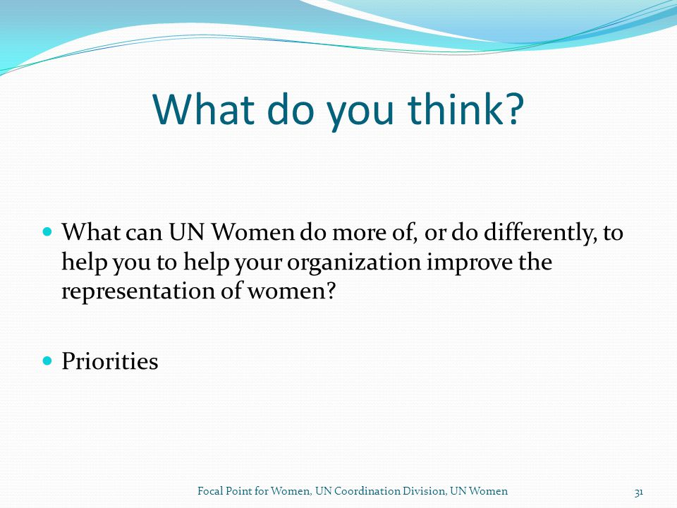 THANK YOU Focal Point for Women, UN Coordination Division, UN Women32