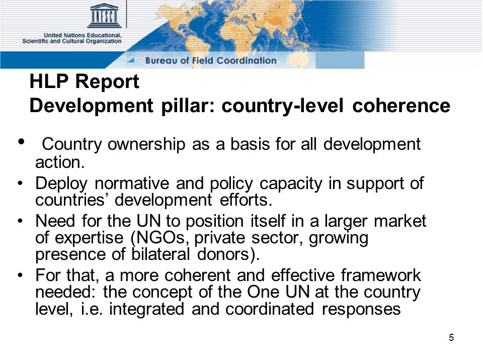 5 HLP Report Development pillar: country-level coherence Country ownership as a basis for all development action. Deploy normative and policy capacity