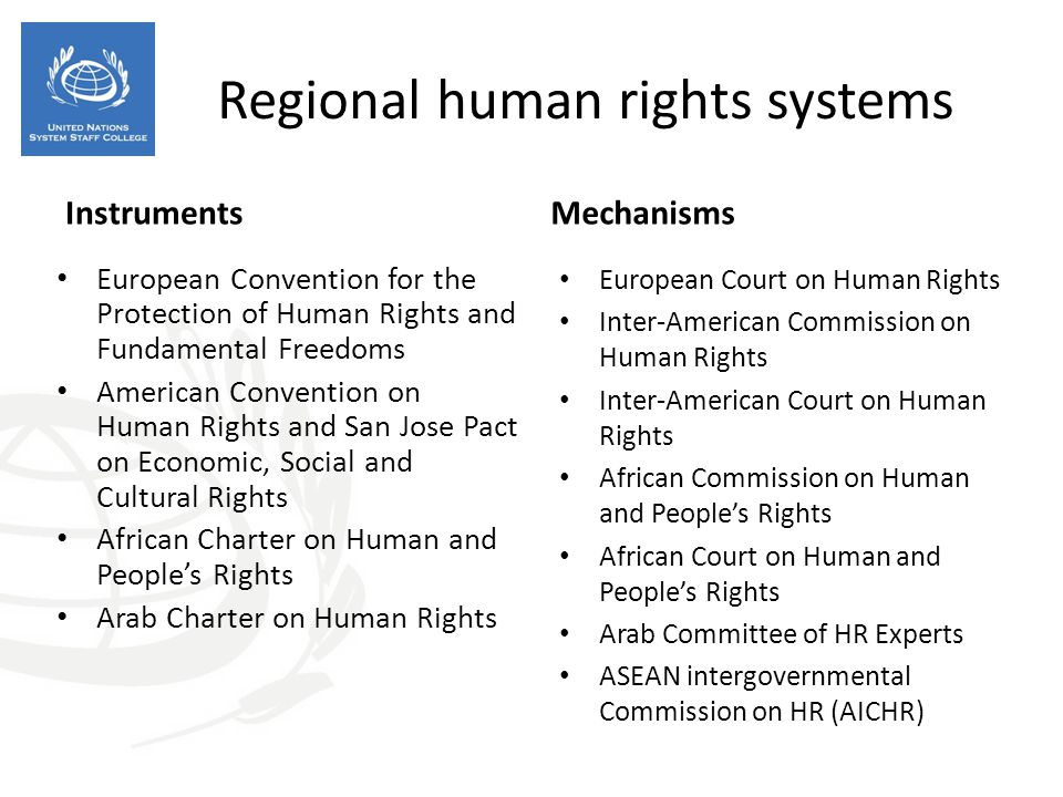 Regional human rights systems Instruments European Convention for the Protection of Human Rights and Fundamental Freedoms American Convention on Human Rights and San Jose Pact on Economic, Social and Cultural Rights African Charter on Human and People's Rights Arab Charter on Human Rights Mechanisms European Court on Human Rights Inter-American Commission on Human Rights Inter-American Court on Human Rights African Commission on Human and People's Rights African Court on Human and People's Rights Arab Committee of HR Experts ASEAN intergovernmental Commission on HR (AICHR)