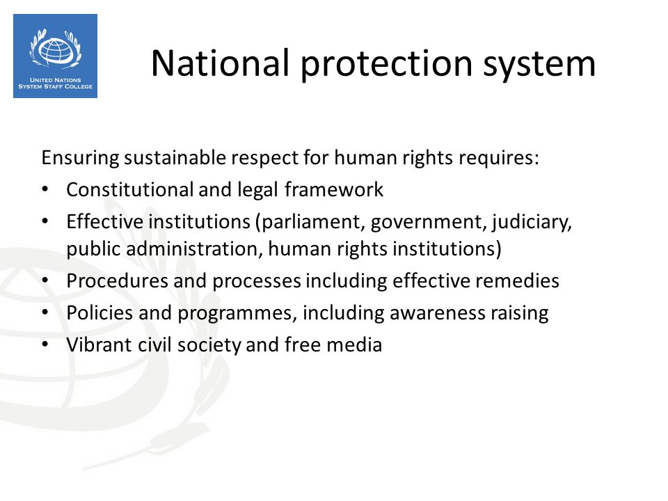 National protection system Ensuring sustainable respect for human rights requires: Constitutional and legal framework Effective institutions (parliament, government, judiciary, public administration, human rights institutions) Procedures and processes including effective remedies Policies and programmes, including awareness raising Vibrant civil society and free media