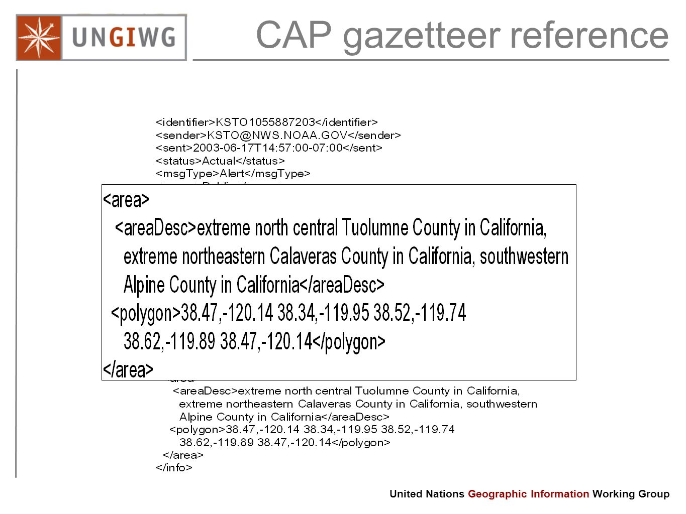CAP gazetteer reference Any City / Province / Country Radio Television Fax Cell / SMS Sirens Storm Earthquake Fire Tsunami Volcano CAP Geographic Information United Nations Geographic Information Working Group