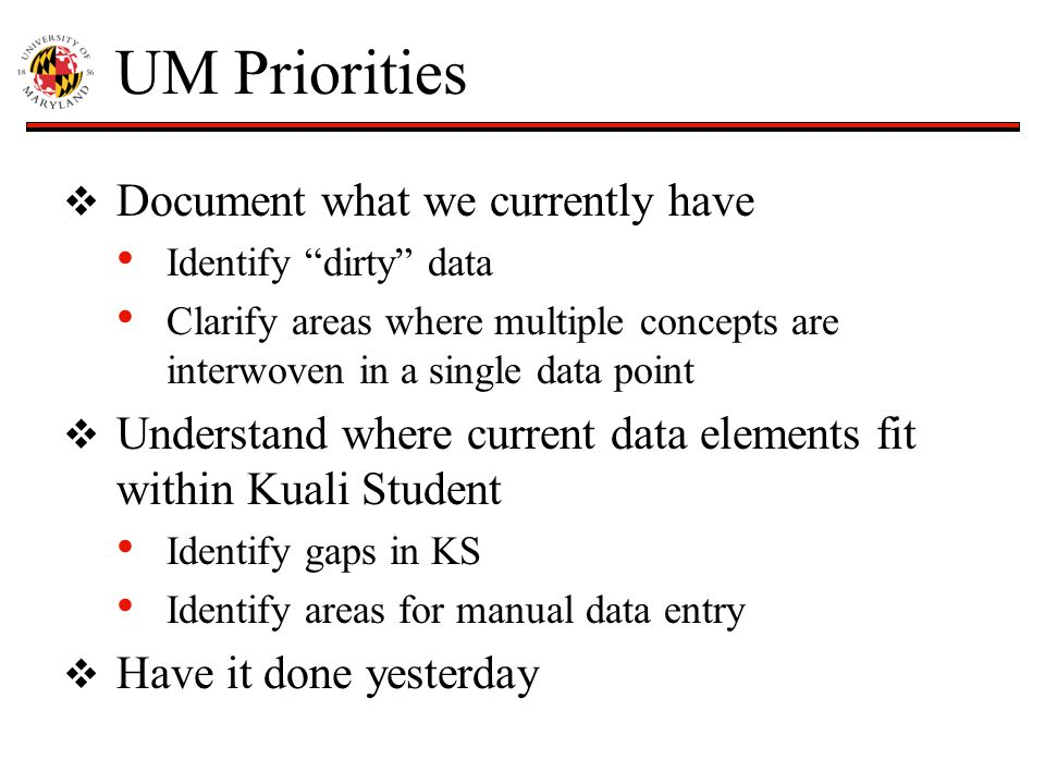 "UM Priorities  Document what we currently have Identify ""dirty"" data Clarify areas where multiple concepts are interwoven in a single data point  Un"