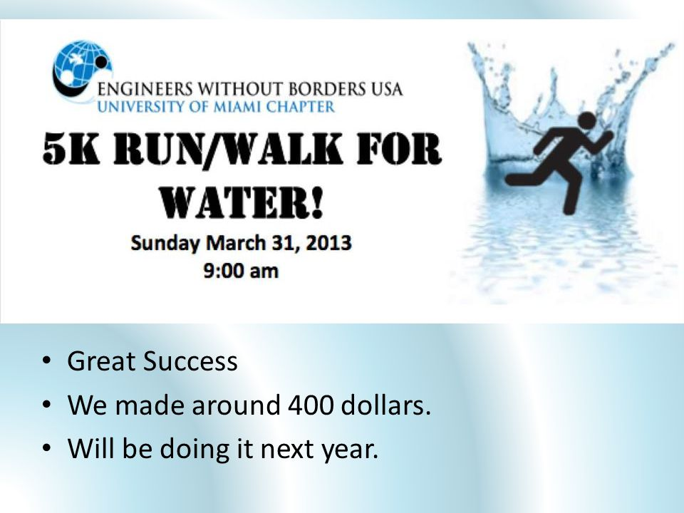 5k Sunday, March 31 at UM Great Success We made around 400 dollars. Will be doing it next year.