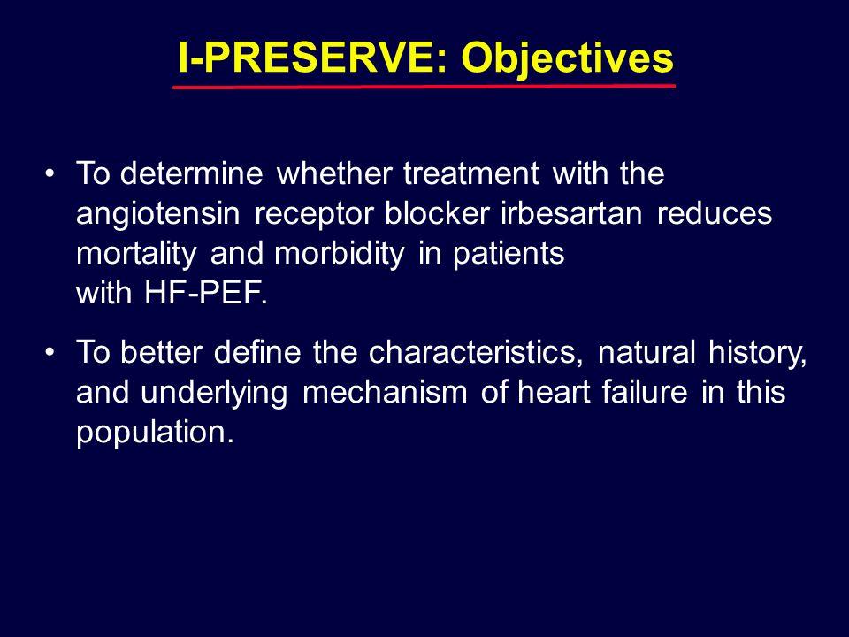 Age  60 years Current HF symptoms LVEF  0.45 NYHA Class III/IV  Echo (LVH, LAE)  ECG (LVH, LBBB)  CXR congestion I-PRESERVE: Entry Criteria NYHA class II - IV  CHF hosp.