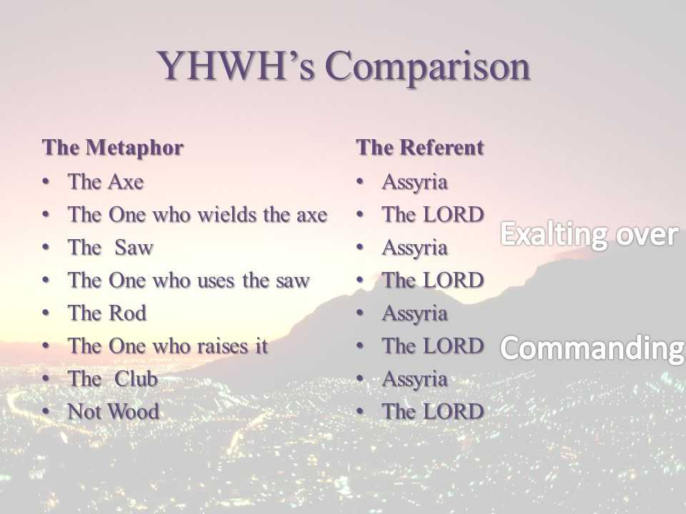 YHWH's Comparison The Metaphor The Axe The Axe The One who wields the axe The One who wields the axe The Saw The Saw The One who uses the saw The One who uses the saw The Rod The Rod The One who raises it The One who raises it The Club The Club Not Wood Not Wood The Referent Assyria Assyria The LORD The LORD Assyria Assyria The LORD The LORD Assyria Assyria The LORD The LORD Assyria Assyria The LORD The LORD