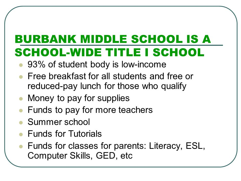 BURBANK MIDDLE SCHOOL IS A SCHOOL-WIDE TITLE I SCHOOL 93% of student body is low-income Free breakfast for all students and free or reduced-pay lunch for those who qualify Money to pay for supplies Funds to pay for more teachers Summer school Funds for Tutorials Funds for classes for parents: Literacy, ESL, Computer Skills, GED, etc
