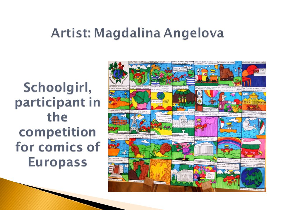 Schoolgirl, participant in the competition for comics of Europass