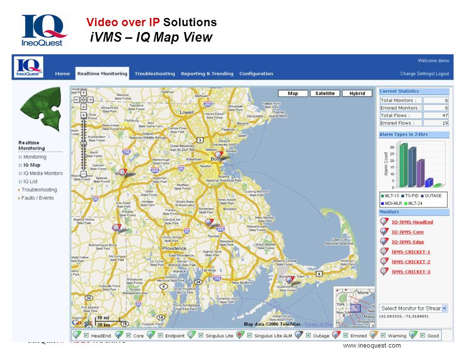 IneoQuest Technologies www.ineoquest.com IneoQuest IP VIDEOTRAINING Video over IP Solutions iVMS – IQ Map View