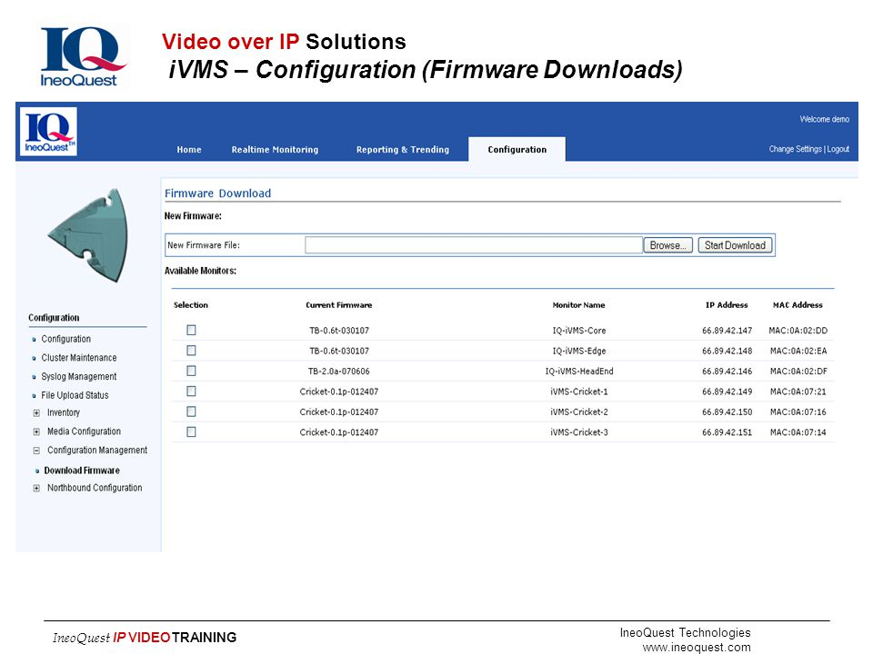 IneoQuest Technologies www.ineoquest.com IneoQuest IP VIDEOTRAINING Video over IP Solutions iVMS – Configuration (Firmware Downloads)