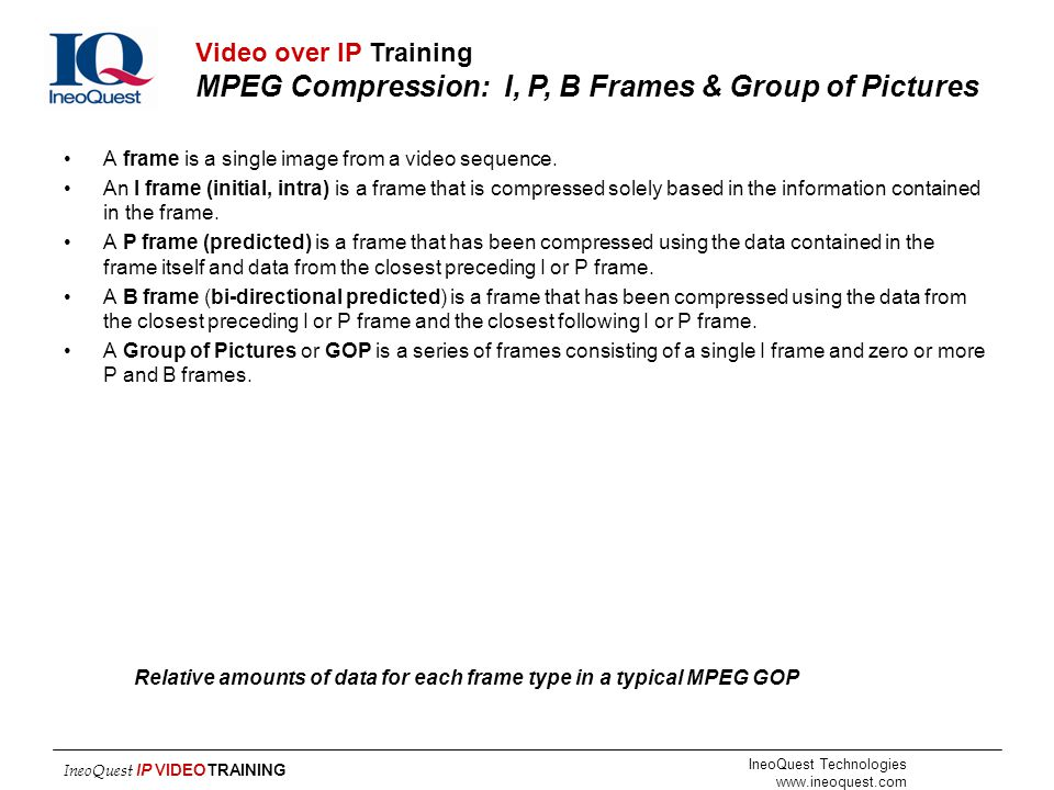 IneoQuest Technologies www.ineoquest.com IneoQuest IP VIDEOTRAINING Relative amounts of data for each frame type in a typical MPEG GOP 0 2 4 6 8 10 IB