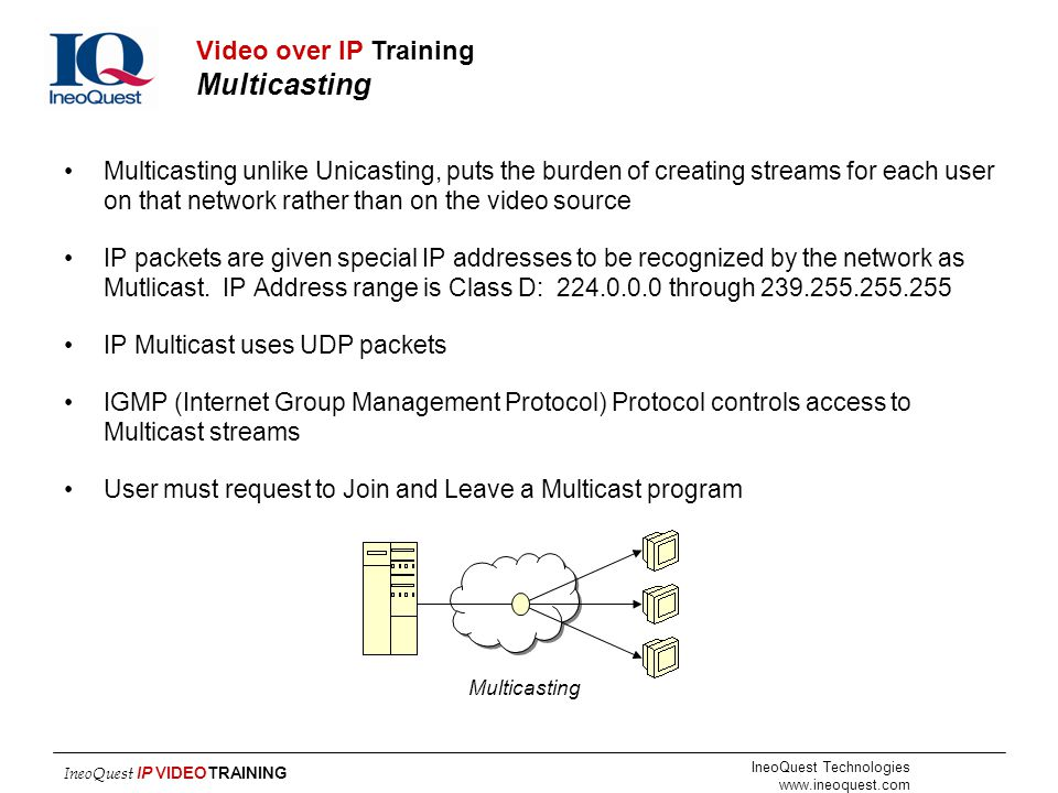 IneoQuest Technologies www.ineoquest.com IneoQuest IP VIDEOTRAINING Multicasting unlike Unicasting, puts the burden of creating streams for each user
