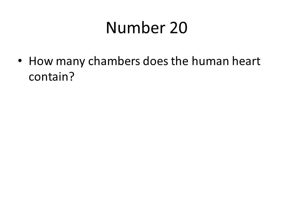 Number 20 How many chambers does the human heart contain
