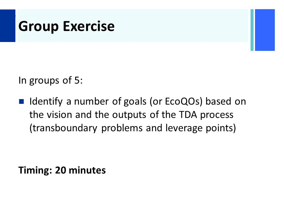 + Group Exercise In groups of 5: Identify a number of goals (or EcoQOs) based on the vision and the outputs of the TDA process (transboundary problems and leverage points) Timing: 20 minutes